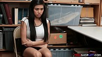 Asian teen amateur with big tits caught shoplif...