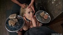 Master James Mogul holds head to bound blonde t...