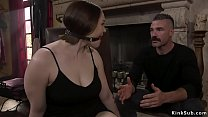 Muscled captor Charles Dera puts ball gag in mo...