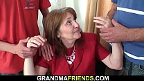 Hairy-pussy office granny double penetration