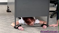 Face jizzed highschool ginger tied to the desk ...