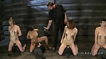 Group of naked slaves getting casting for slave...