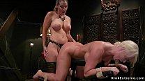 Hot big tits brunette lesbian dominatrix Kayla ...