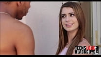 Cute teen has a crush on dad's black student at...