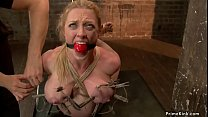 Fake big boobs blonde Milf slave Dee Williams is gagged and