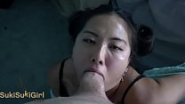 japanese amateur takes deepthroat laying on her...