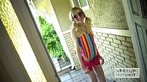 Young blonde spinner Mackenzie Moss takes a har...