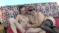 Old blonde wife threesome with double facial