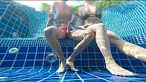 Outdoor amateur cumshot in public pool