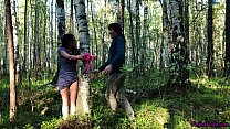 Husband Tied the Brunette in the Forest and Str...