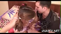 Attractive young brunette floozy Angie enjoys e...