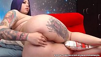 Tattooed BBW having anal with big toy and balls...