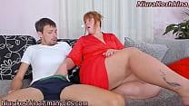 CAUGHT Curvy redhead stepmom jerks off my buddy...