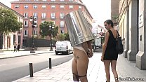 Natural big tits Spanish slave d. in public str...