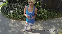 Banging blonde cutie outdoors for cash