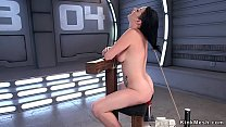 Watch In sitting bondage raven haired solo hottie takes fucking machine in_pussy preview