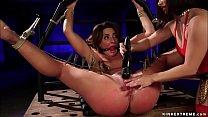 Brunette lesbian slave Savannah Fox laying in s...