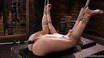 Hot blonde petite solo slut in standing bondage...