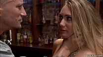Bar owner Mr Pete ties and gags hot blonde babe...
