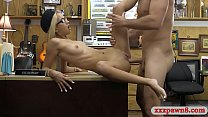 Small tits blond babe railed by pawn man