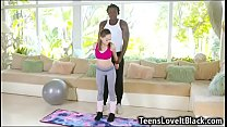 Flexible small teen opens her mouth as wide as ...