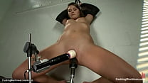 Tanned brunette solo student Abby Cross laying ...