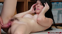 Small tits brunette is caught stealing and an o...