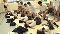 Future Japan mandatory sex in school featuring many virgin schoolgirls having missionary sex with classmates to help raise the population in HD with English subtitles Thumbnail