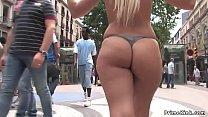 Hot blonde petite slave in underwear is public ...