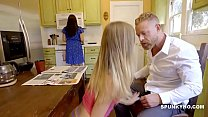 Daughter almost caught giving dad a blowjob und...