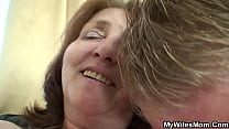 Old woman loves a good fuck with her young son-...