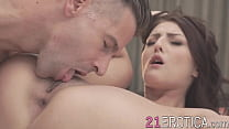 Babe fucked by stud who cums on her feet