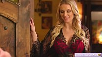 Busty blonde bombshell masseuse gives her clien...