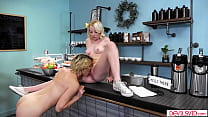 Teen waitress pussy licked by her big tits lesb...