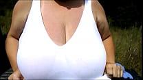 huge boobs outside, huge natural tits