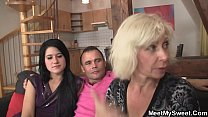 Old couple seduce son's GF into threesome