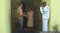 Interracial threesome with old woman