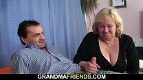 Busty granny threesome sex