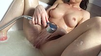 Brunette Fingering Pussy and Cum in the Shower
