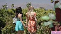 Brunette chick joins lesbian couple after voyeu...