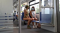 big boobs out flashing on the train
