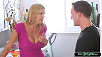 Busty stepmom is in the laundry area and sudden...