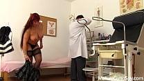 Spy cam video of mature woman on her gynecologi...