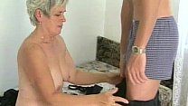 Hairy granny tastes young cock