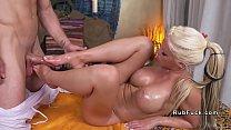 Huge tits blonde screws her masseur