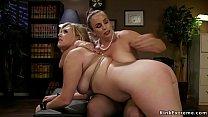 Lesbian boss lawyer Bella Rossi rubs pussy to b...