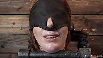 Natural huge tits redhead slave Lauren Phillips...