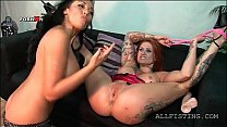 Bitchy lesbian redhead getting her fuck hole fi...