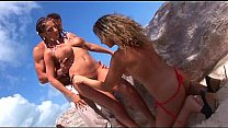 Roberta Gemma and Alessia Donati in anal threesome action on the beach Thumbnail
