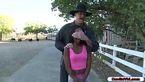 Black babe fucked by her white stepdad in the park